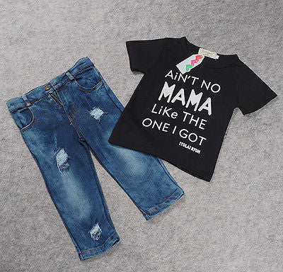 "Boys ""Ain't No Mama"" Black T-Shirt and Jeans Set"