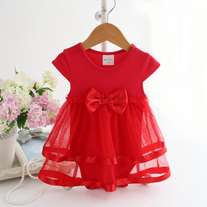 Baby Girls Red Tulle Bow Onesie Dress