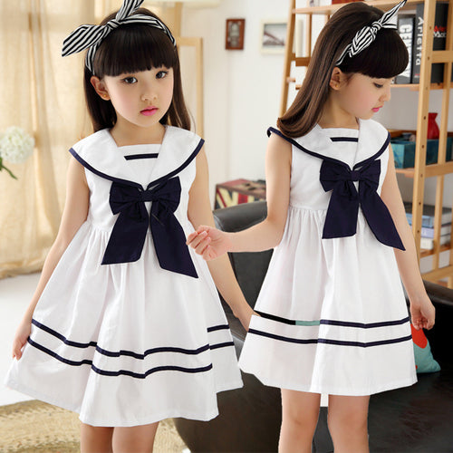 Nautical Summer Girl Dress with a Bow