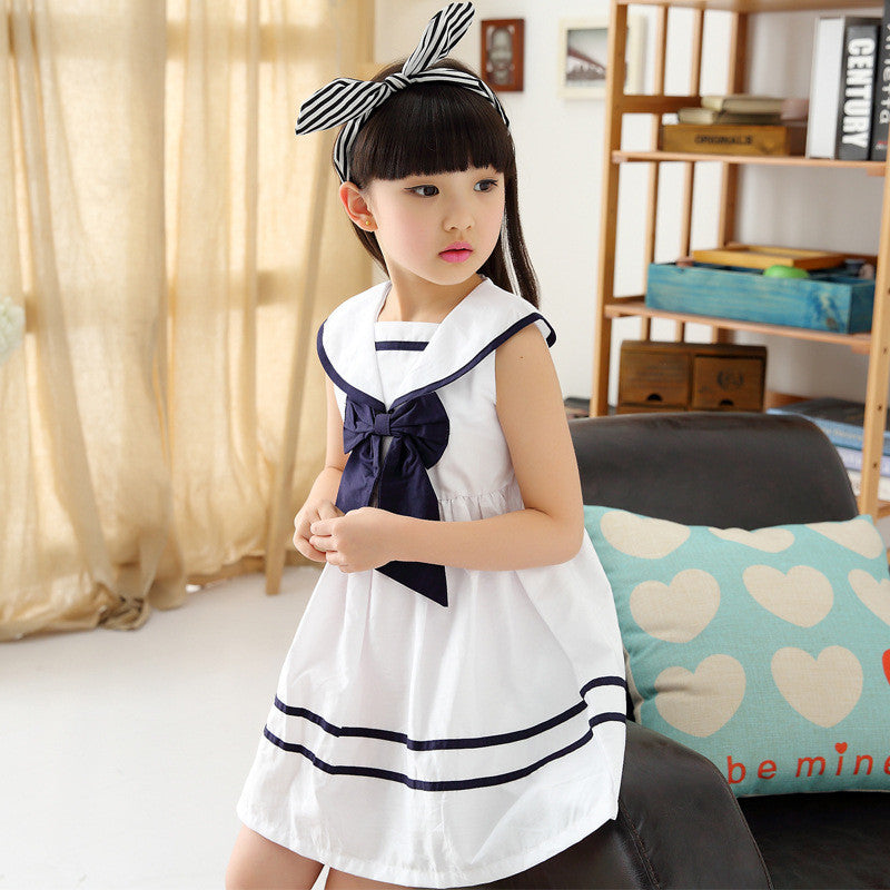 Girls Nautical Sleeveless Dress with Bow: 3 Colors!
