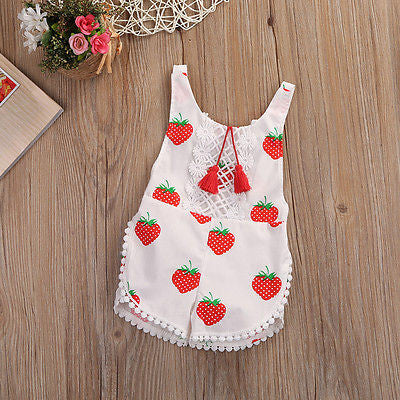 Baby Girls Sleeveless Strawberry Romper