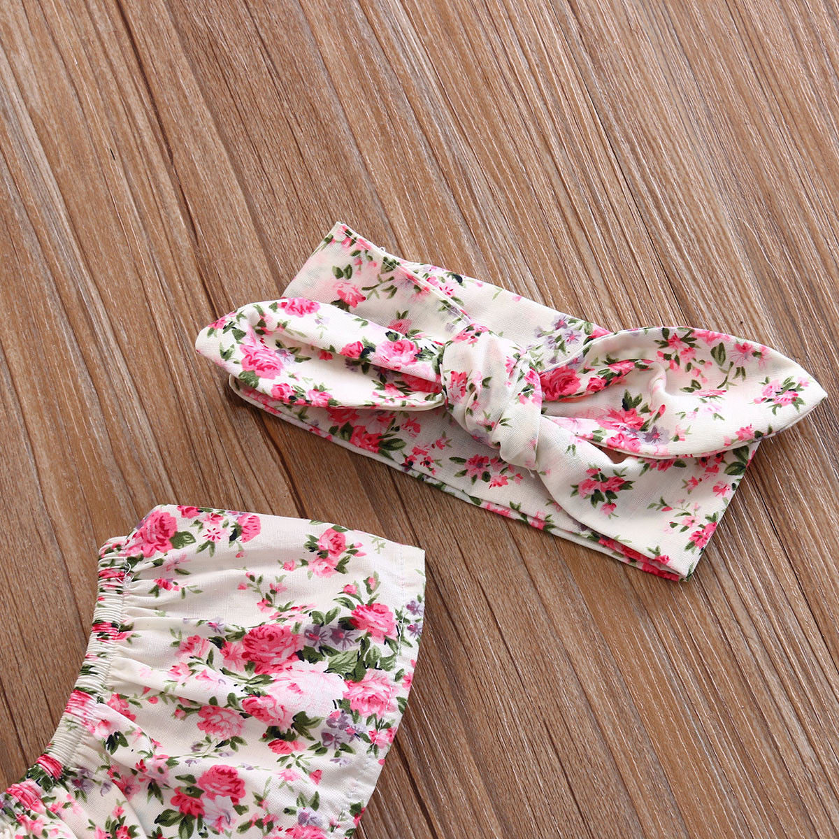 Baby Girls Floral Romper with Headband Set