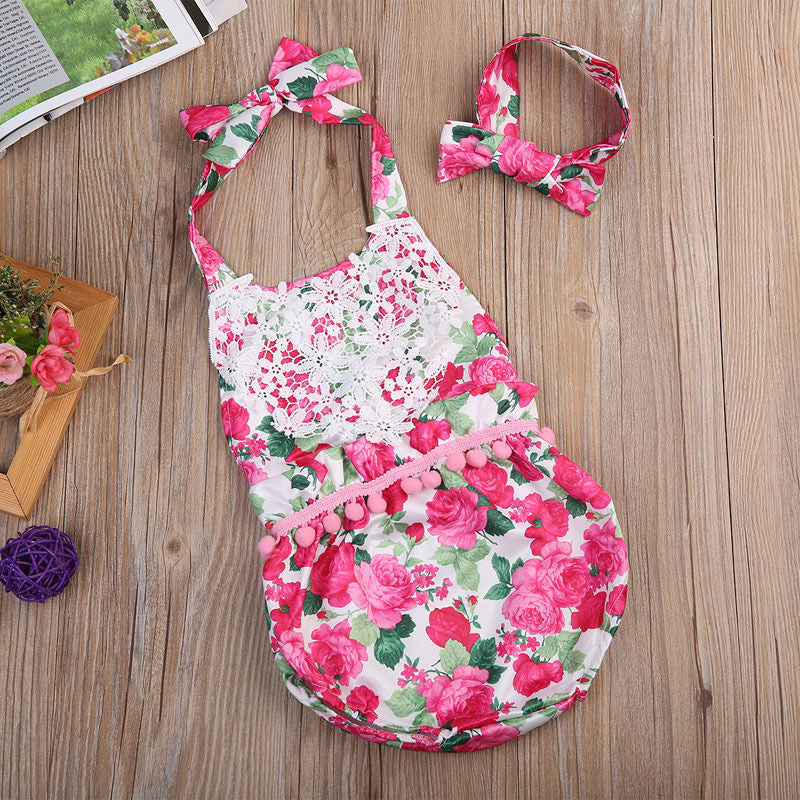 Baby Girls Lace Floral Pom Pom Romper with Headband