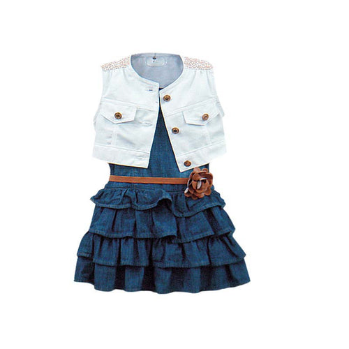 White Jacket with Denim Jeans Dress and Brown Belt with a Bow 3 pc. Set