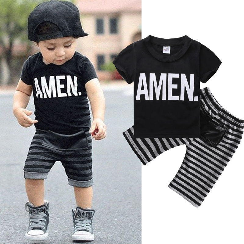 "Boys ""Amen"" T-Shirt and Striped Bottoms 2 pc. Set"
