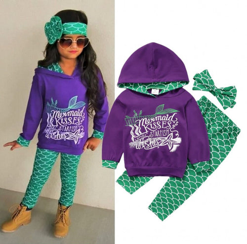 Girls 3 pc. Mermaid Kisses Hoodie, Tights, and Headband Set