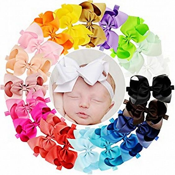 Baby Girls 6 Inch Big Bow Headband: 18 Colors!