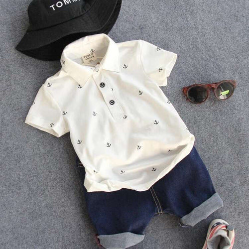 Boys Nautical Anchors Polo and Shorts Set