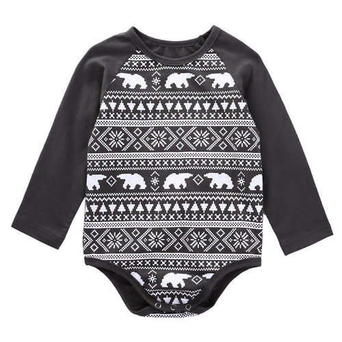 Gray and White Polar Bear Long Sleeved Unisex Onesie