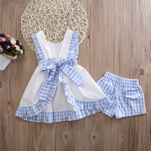 Girls Pale Blue Checkered Blouse and Shorts Set