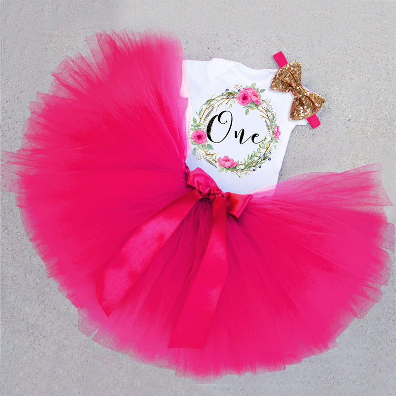 0afc1c53e Baby Girls 1st Birthday Tutu Set in Woodland Theme  4 Colors ...