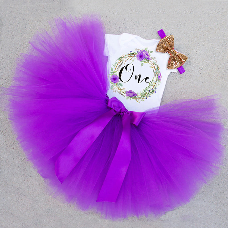 Baby Girls 1st Birthday Tutu Set in Woodland Theme: 4 Colors!