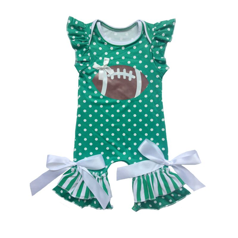 Baby Girls Ruffle Sleeves and Polka Dots Football Romper: 11 Colors!!