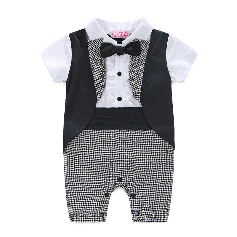 Baby Boys Short Sleeve Tuxedo Romper - Black or Red