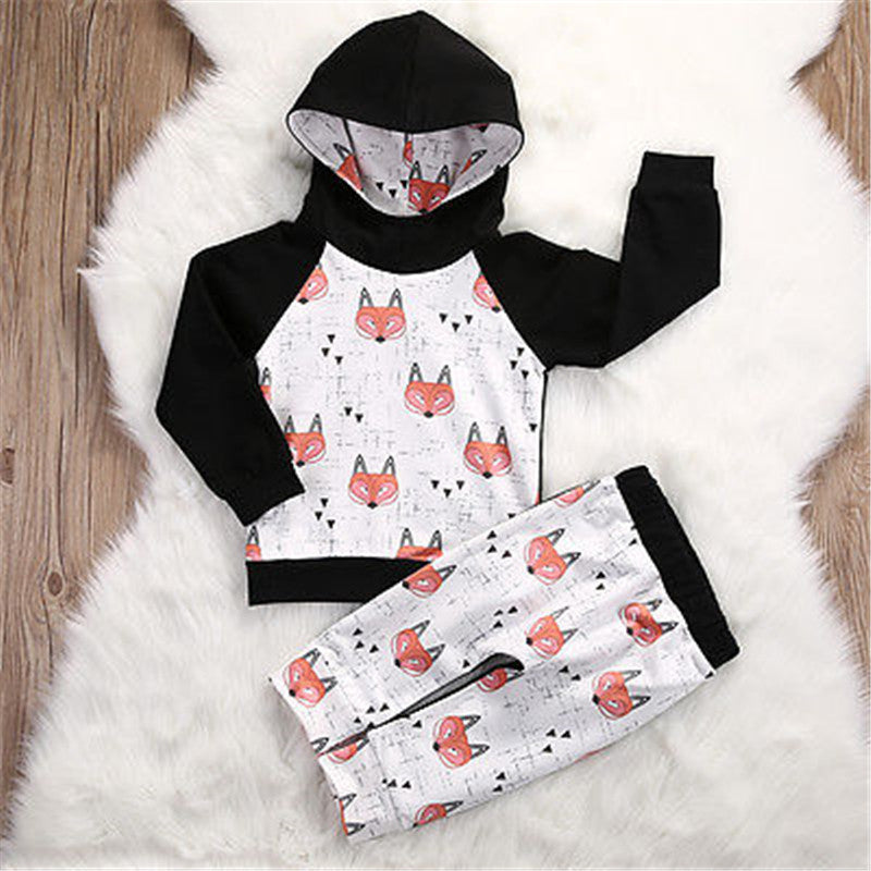 Boys Fox Hoodie and Pants 2 pc. Set