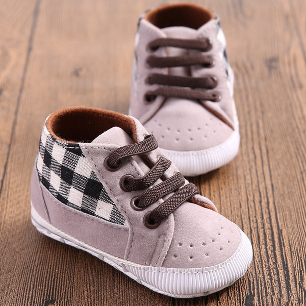 Gray Plaid Baby Boys Lace Up Sneakers Stork And Fox