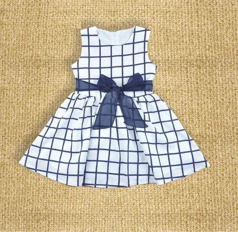 Baby Girls Navy Blue and White A-Line Dress with Bow