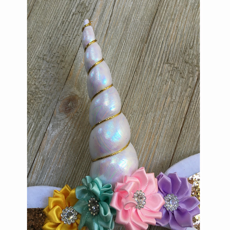 Girls Gold or White Unicorn Party Headband