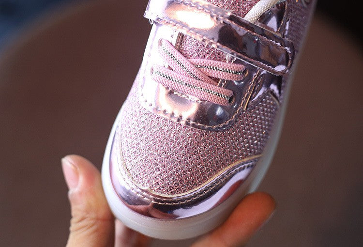 Girls LED Light Up Metallic Sneakers