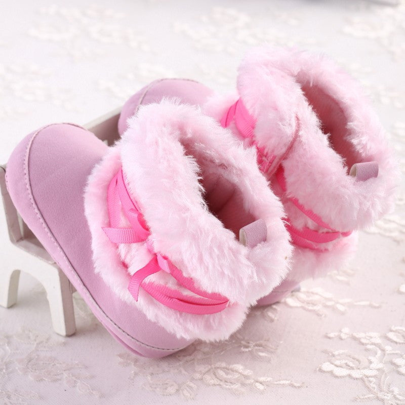 Baby Girls Faux Fur Winter Boots with Bow