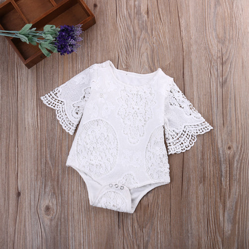 White Lace Style Ruffle Sleeve Romper