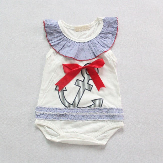 Nautical Baby Girls Anchor or Crab Romper: 2 Styles!