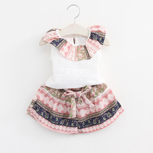 Sleeveless Pattern Collar and Shorts with White Top 2 pc Set