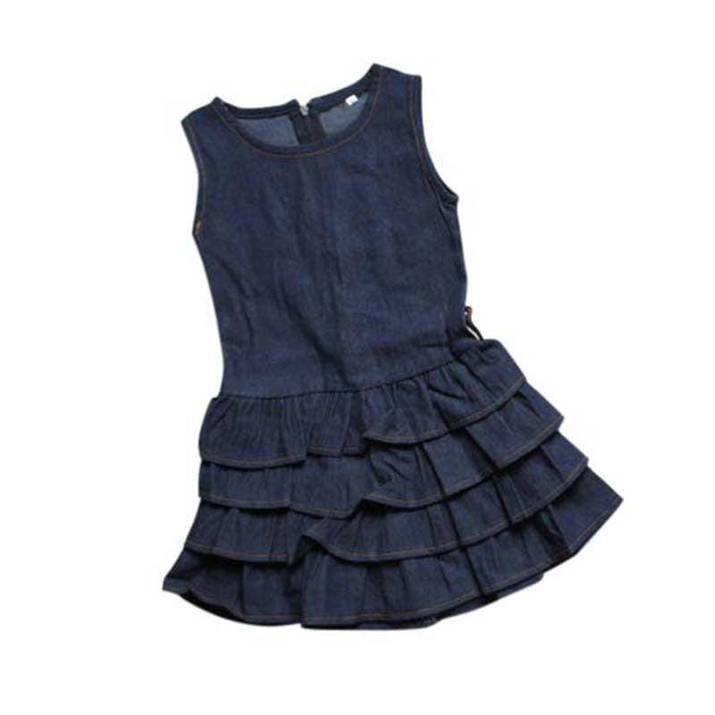 Girls Ruffle Denim Dress with Crop Jacket & Brown Belt 3 pc. Set
