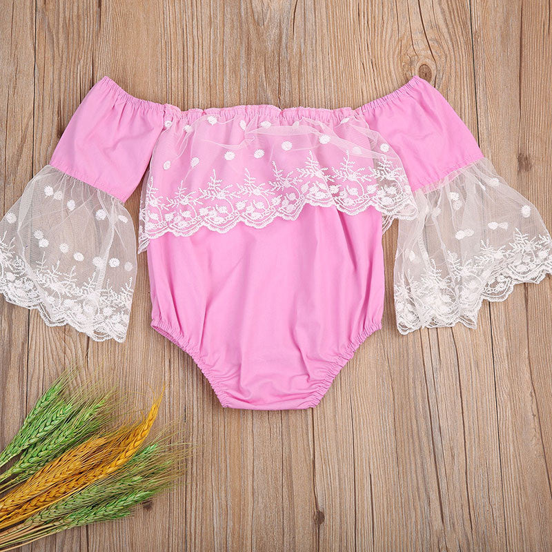 Baby Girls Pink Off the Shoulder Flare Sleeve and Lace Romper
