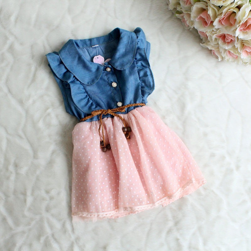 Girls Chambray & Tulle One-Piece Dress with Belt