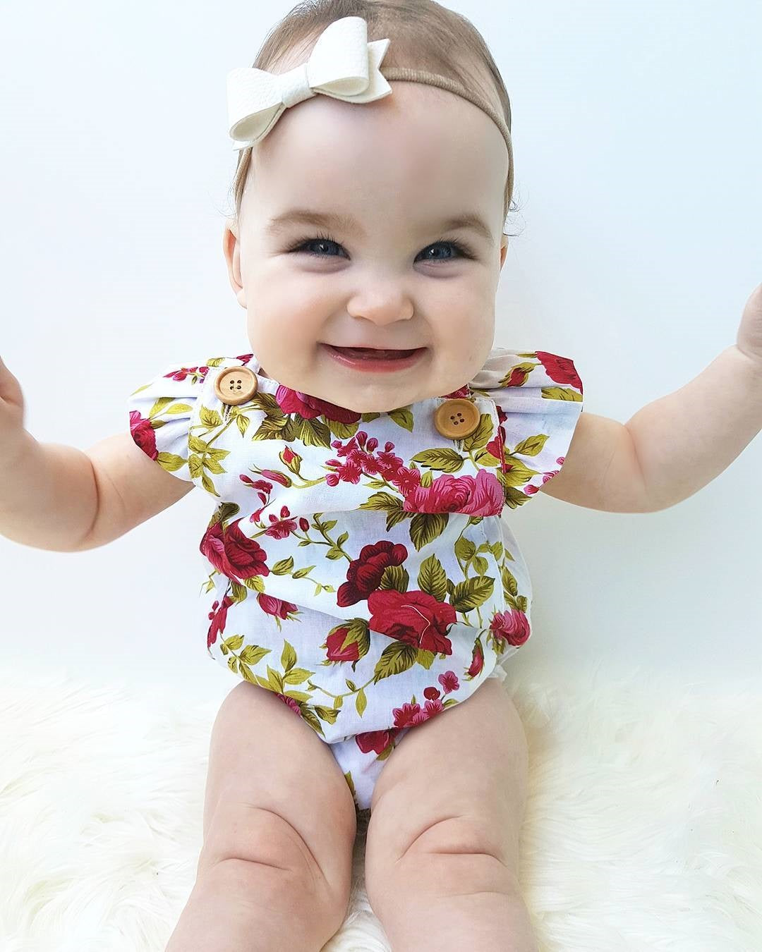 Roses Are Red Baby Girls Button Romper and Headband Set