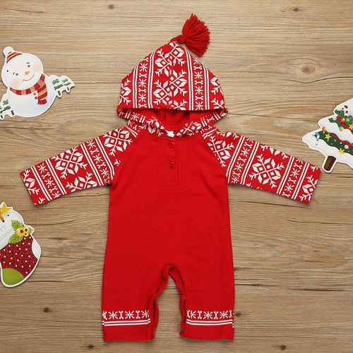 Unisex Christmas Long Sleeve Baby Romper: Red Snowflake Print