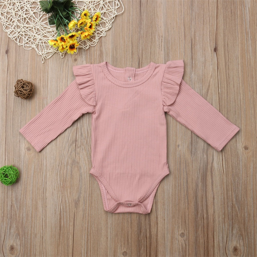 Long Sleeved Ruffle Shoulder Ribbed Onesie