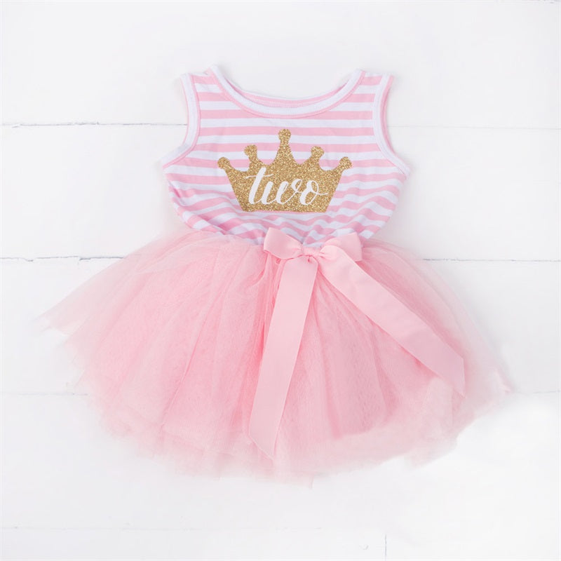 Baby Girls 1st AND 2nd Birthday Striped Tank Tutu Dress