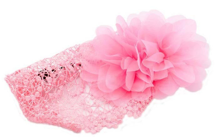 Pink Flower and Lace Baby Girls Headband