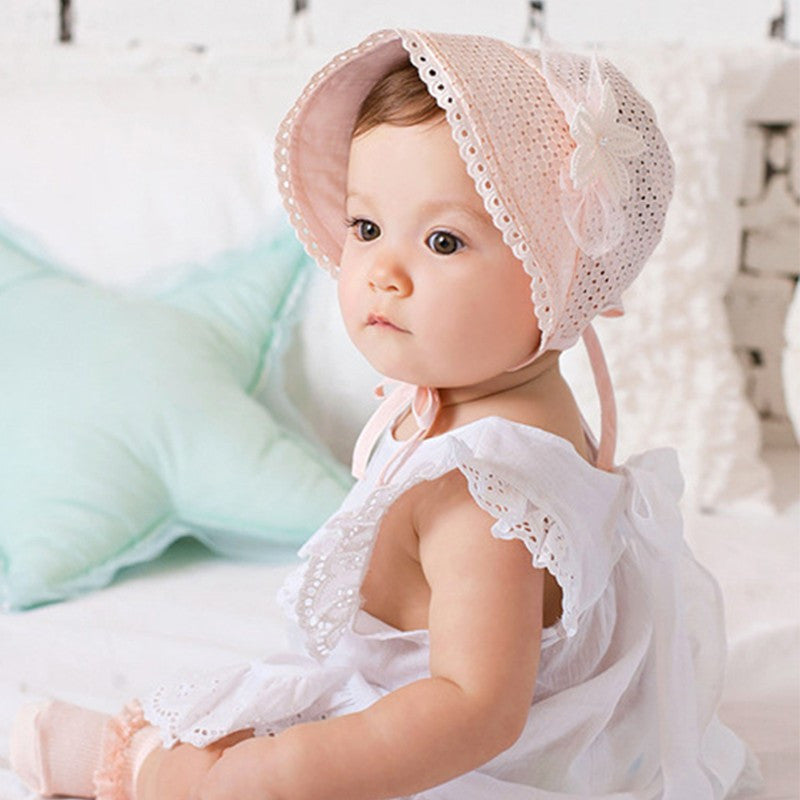 Baby Girls Pink or White Flower Bonnet