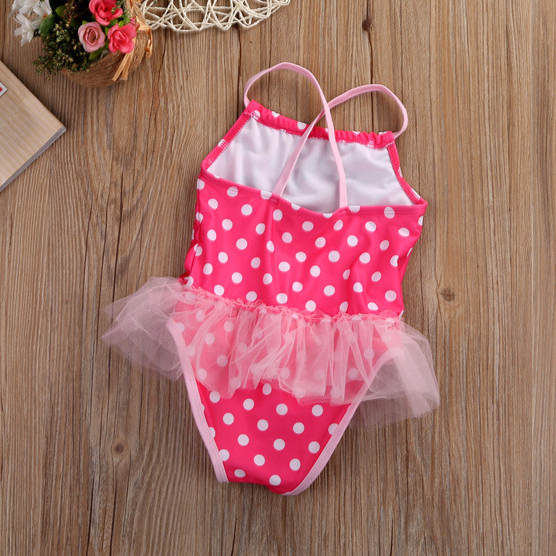 Girls Minnie Mouse Polka Dots One Piece Swimsuit: 2 colors!