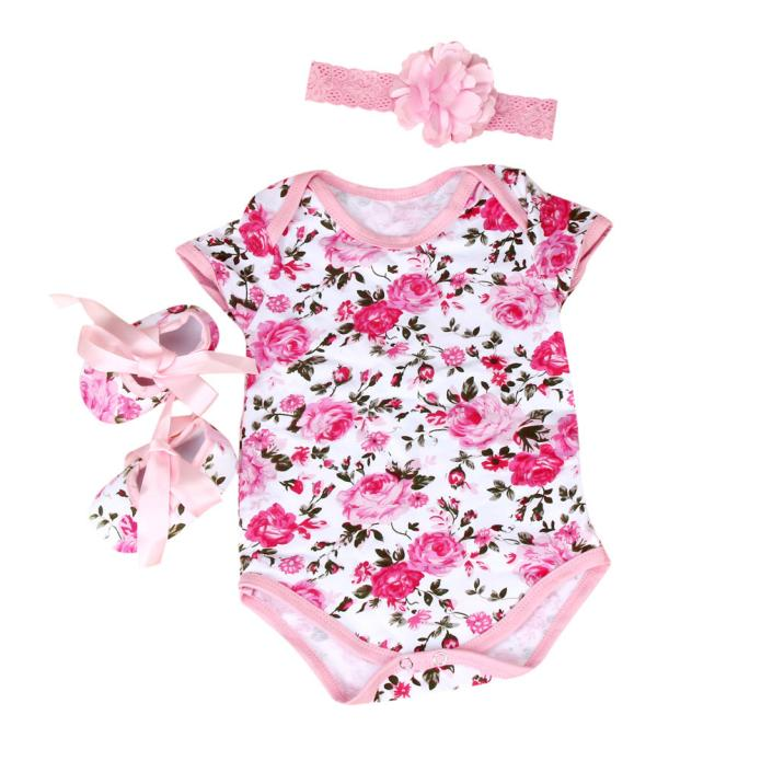 Baby Girls Floral Onesie, Headband, and Crib Shoes 3 pc. Set