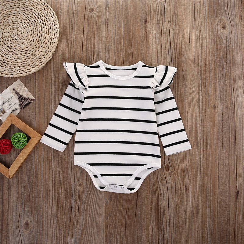81a9ecdd6 Black or White Striped Baby Girls Long Sleeve Ruffle Onesie – Stork ...