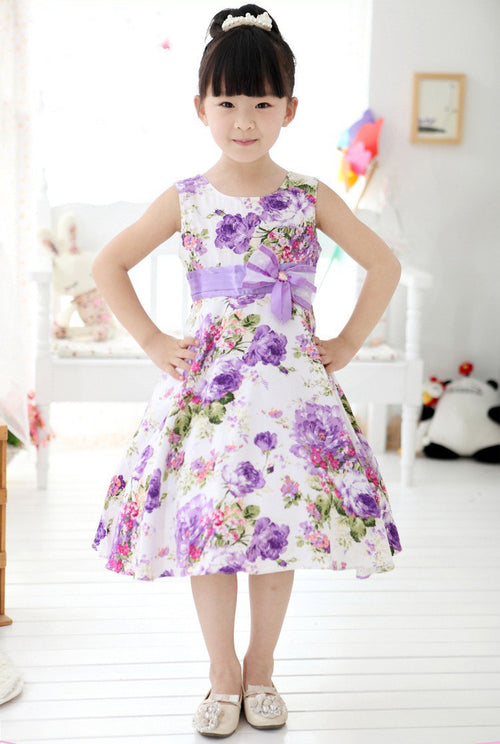 Girl Spring Summer Easter Purple Flower Dress with a Bow