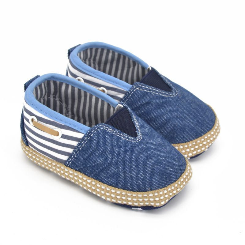 Unisex Nautical Striped Canvas Slip On Baby Shoes