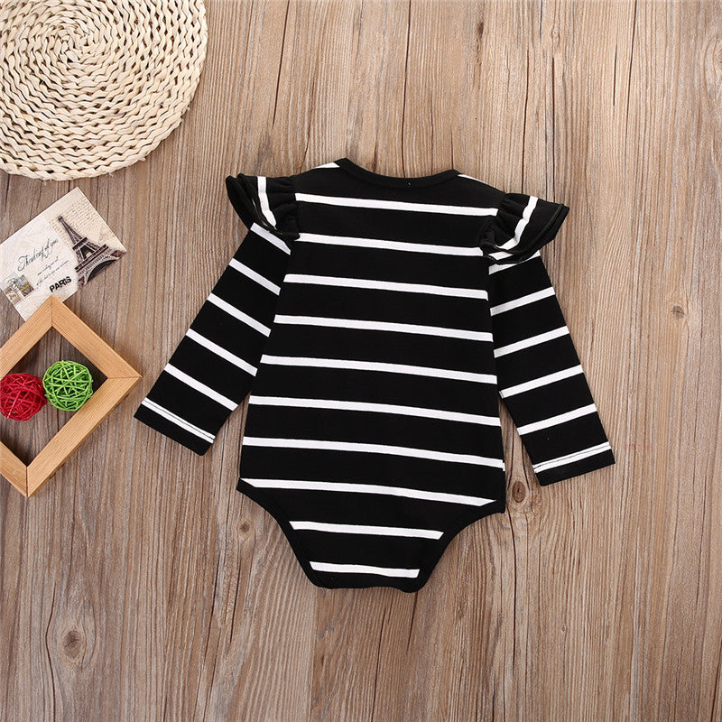 Black or White Striped Baby Girls Long Sleeve Ruffle Onesie