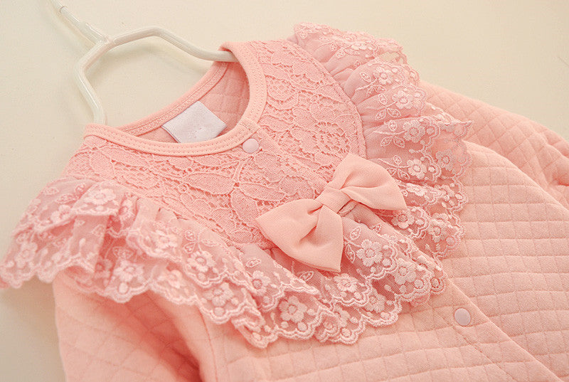 Baby Girls Pink or White Lace Ruffles Winter Jumpsuit and Hat Set