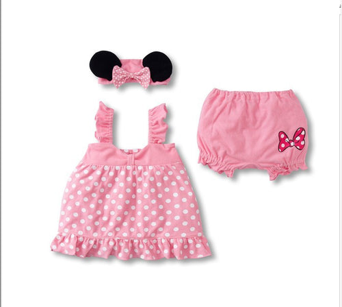 Baby Girls Minnie Mouse Ruffle Top, Bloomers, & Headband 3 pc. Set