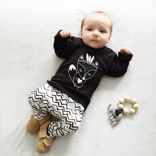 Baby Boys Black, White, and Feathers 2 pc. Fox Set