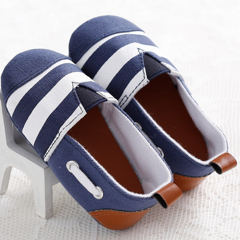 Unisex Classic Striped Canvas Slip On Baby Shoes