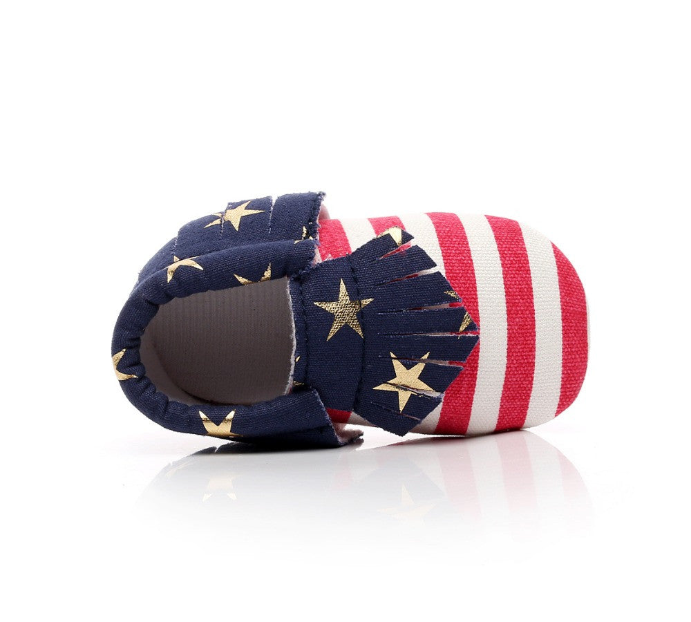 Unisex Canvas Stars and Stripes Baby Moccasins