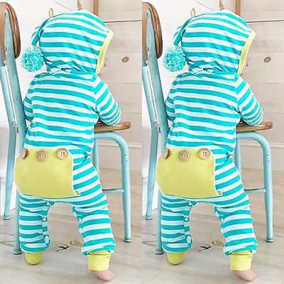 Baby Boys Button Booty Striped Jumpsuit with Beanie