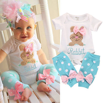 Baby Girls Rabbit Onesie and Polka Dot Leg Warmers 2 pc. Set