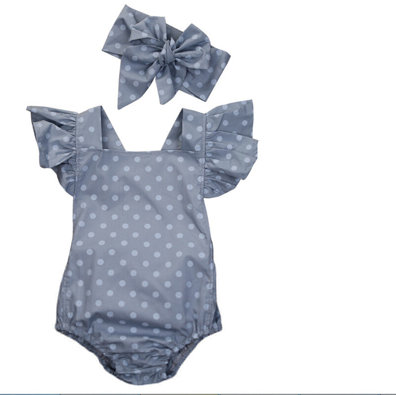 Baby Girls Chambray Look Polka Dot Romper with Headband